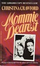 Red book cover for Mommie Dearest with a black and white photo of Christina and Joan Crawford.