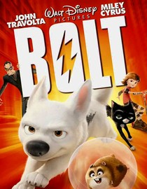 Cartoon poster for Bolt featuring a dog, hamster, cat, and people.