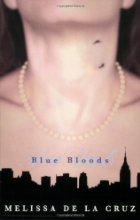 Female neck wearing a pearl necklace with bite marks against NYC skyline.
