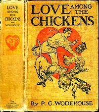 Old book cover with man chasing chickens.