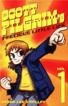 Orange and red book cover with Scott Pilgrim pointing his finger.