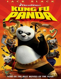 Po the panda surrounded by the Furious Five and Master Shifu.