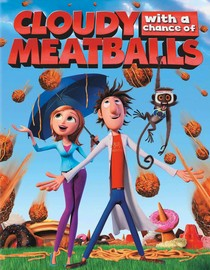 Flint and Sally standing under umbrella surrounded by meatballs.