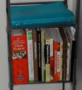 Shelf of cookbooks.