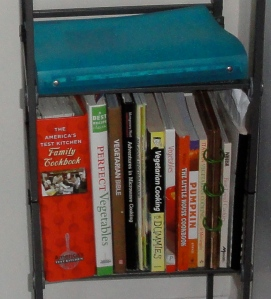 Shelf of cookbooks.