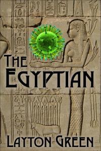 Egyptian sculpture holding a green globe.