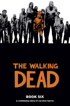 Carl in orange against a pile of zombies.