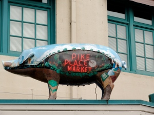 Pike Place Market painted piggy.