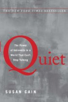 Quiet in red against a gray background.