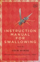 "Red book cover witha  fly on it and the title ""Instruction Manual for Swallowing"" written in pink, and the author's name ""Adam Marek"" written in black."
