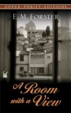 Black and white image of Italian countryside as seen through a window with the book's title and author name on it.