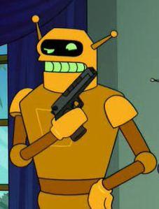 A golden robot holding a gun.
