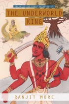 A Hindu god holding a sword and staring at a lizard.