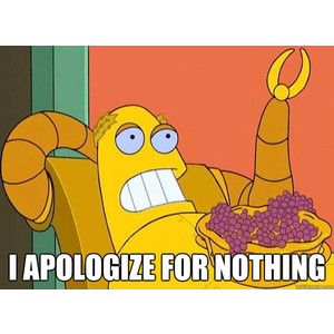 hedonbot holding grapes and apologizing for nothing