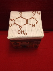 Image of the top and side of a box with the molecular structure of chocolate cross-stitched on the top.