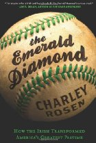 A baseball with green lacings is the backdrop to the book title.
