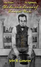 A pencil drawing of Abraham Lincoln sitting in front of a bookcase.
