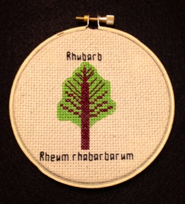 "Cross-stitch of a rhubarb leaf. The word ""rhubarb"" is above it while the words ""rheum rhabarbarum"" are below it."