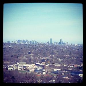 View of Boston city skyline