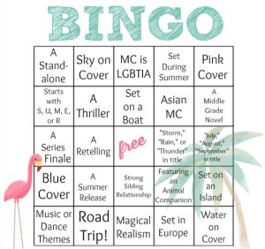 A bingo card featuring a flamingo and a palm tree.