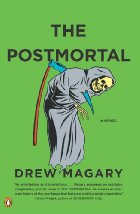 Green book cover with a grim reaper impaled on his own scythe.