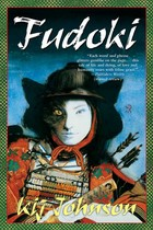 A Japanese warrior woman's face has the shadow of cat ears behind her. The book's title and author name are over this picture.
