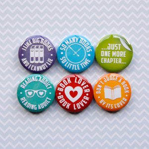 six reading themed magnets