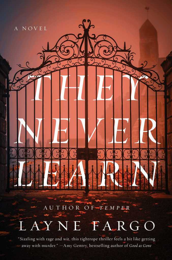 Picture of a digital book cover. A red-tinged foggy photo of a black gate into a university campus. The title of the book - They Never Learn - is imposed over the gate in white font.