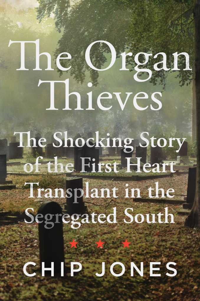 Image of a digital book cover. A graveyard is in the background. The book title is laid over it in white, with three red stars, and then the author's name.