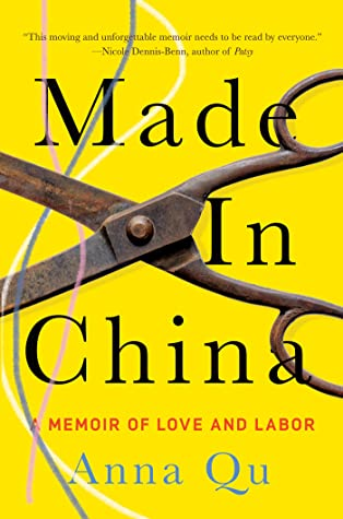 Image of a digital bookcover. A yellow background with scissor open to cut three threads over it. The title of the book is in black. The author's name is in blue.