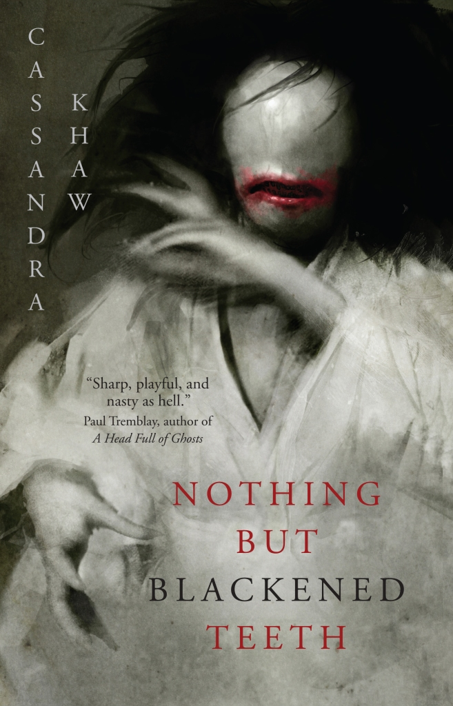 Image of a digital book cover. A woman in a white kimono with no eyes, red smeared lips, and a black maw with no teeth haunts the cover.