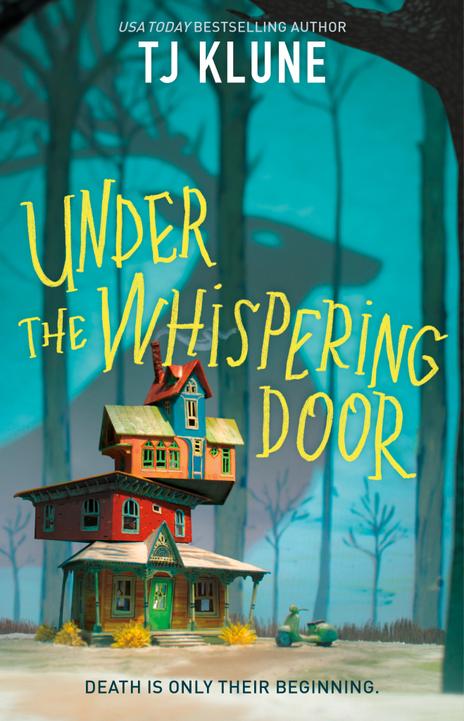 Image of a digital book cover. A four story home built like jenga stands in front of a woods where a shadow of a deer with antlers can be seen. The title of the book is in yellow font.